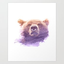 BEAR SUPERIMPOSED WATERCOLOR Art Print