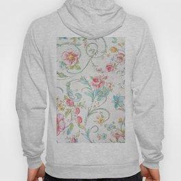 Vintage pink teal watercolor bohemian floral pattern Hoody