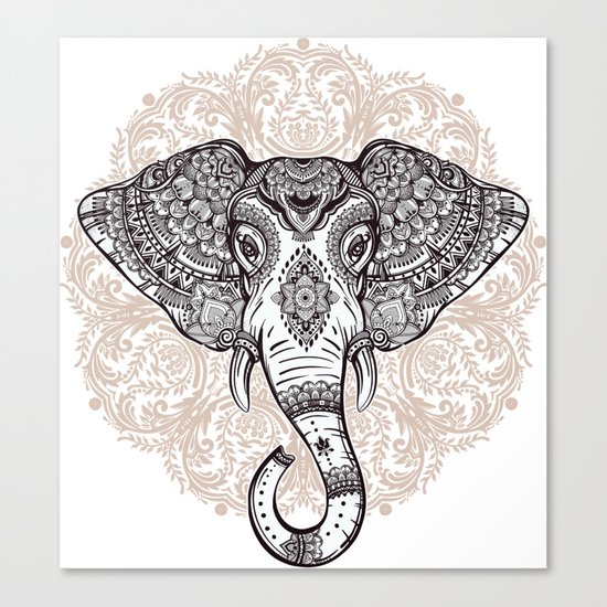 Elephant on Mandala Canvas Print