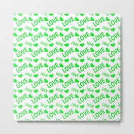 Love Heart Green Metal Print
