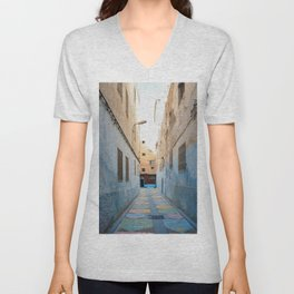 Maroccan Alleys. Fes, Marocco. Fine Art Travel Print. Colourful Wall Art. Unisex V-Neck