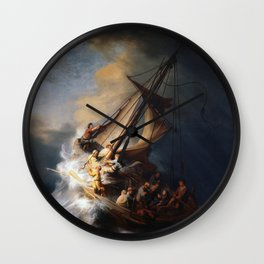 Stolen Painting - The Storm on the Sea of Galilee by Rembrandt Wall Clock