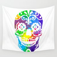 sugar skull Wall Tapestries featuring Sugar Skull by Diana Arend