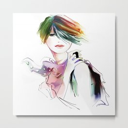 Watercolor Girl V1 Metal Print