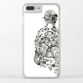 Geometric Black and White Drawing Japanese Yukata Kimono Clear iPhone Case