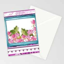 Frogs in Lotus Field with Frame and pink stripes Stationery Cards