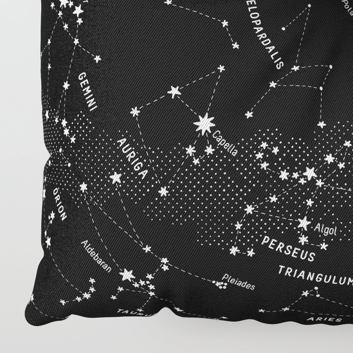 Constellation Map - Black Floor Pillow