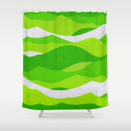 Waves - Lime Green Shower Curtain