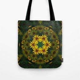 Large Yellow Wildflower Kaleidoscope Art 10 Tote Bag