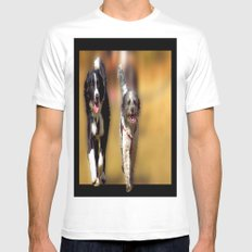 two dogs Mens Fitted Tee MEDIUM White