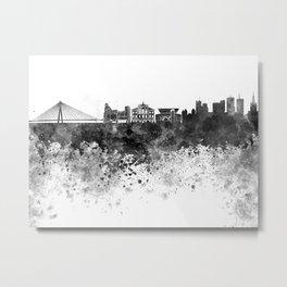 Warsaw skyline in black watercolor Metal Print