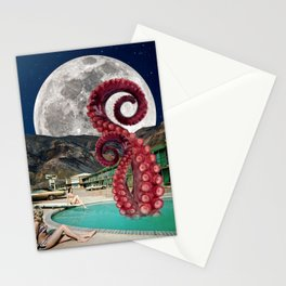Octopus in the pool Stationery Cards