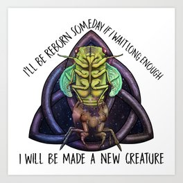 Cicada reborn with text Art Print