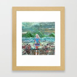 Little Girl, Ivy, Nature on a Windy Day: a colorful abstract piece in blue and greens by KKingCre Framed Art Print