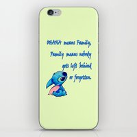 lilo and stitch iPhone & iPod Skins featuring Lilo & Stitch - Ohana Quote by MarcoMellark
