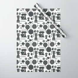 Kitchen Tools (black on white) Wrapping Paper