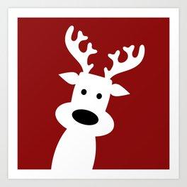 Reindeer on red background Art Print