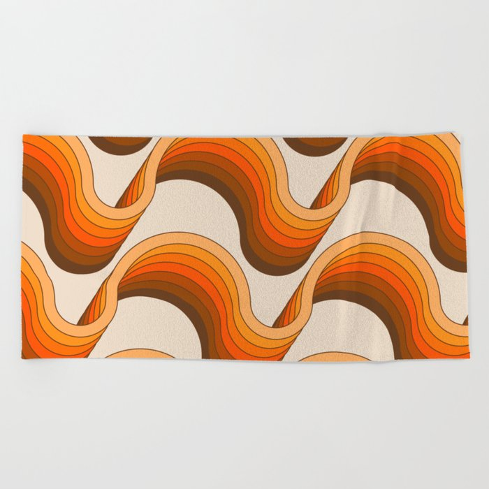 Golden Ribbons Beach Towel