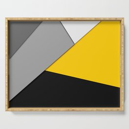 Simple Modern Gray Yellow and Black Geometric Serving Tray