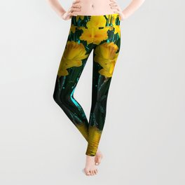 YELLOW DAFFODILS TURQUOISE PATTERNED GARDEN Leggings