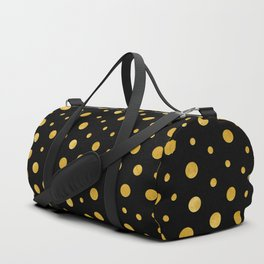 Elegant polka dots - Black Gold Duffle Bag