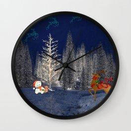 Magical Reindeer Christmas Forest Wall Clock