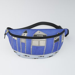 Tiny houses and fish in blue Fanny Pack