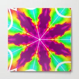 Rainbow Fire Starburst Metal Print