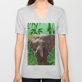 elephant between bamboo leaves Unisex V-Neck