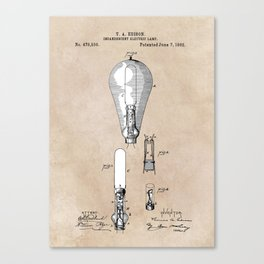 patent art Edison 1892 Incandescent electric lamp Canvas Print