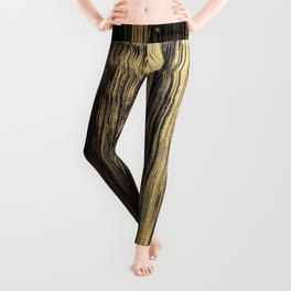 Elegant black faux gold acrylic abstract brushstrokes Leggings