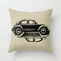 vw Throw Pillows featuring VW Ying and Yang by Vin Zzep