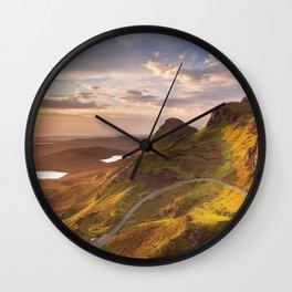 II - Sunrise at Quiraing, Isle of Skye, Scotland Wall Clock