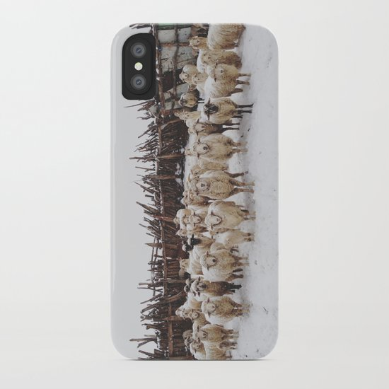 Snowy Sheep Stare iPhone Case