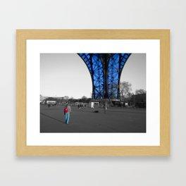 tourist Eiffel tower Paris black and white with color splash Framed Art Print