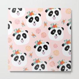Panda bear with flowers seamless pattern Metal Print