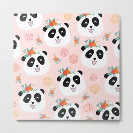 Panda bear with flowers seamless pattern Metal Print