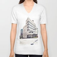 theater V-neck T-shirts featuring Historic Tacoma Theater by Vorona Photography