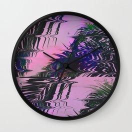 Glitchy Palm Wall Clock