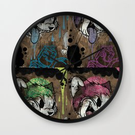 THE CARTOON CAT 4X REDUX Wall Clock