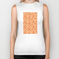 orange pattern Biker Tanks featuring Orange Squares Pattern. by Elena O'Neill
