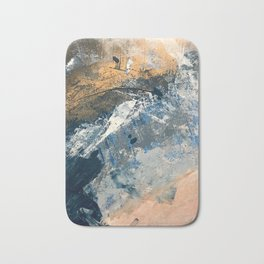 Wander [3]: a vibrant, colorful abstract in blues, pink, white, and gold Bath Mat
