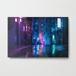 Neon Light Reflection on the rainy streets of Tokyo Metal Print
