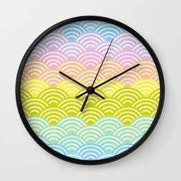 Seigaiha or seigainami literally means blue wave of the sea. rainbow pattern abstract scale Wall Clock