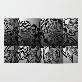 Abstract black floral ornament on grey background Rug