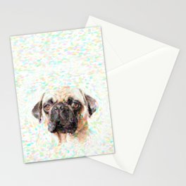 Pointillistic Pug Stationery Cards