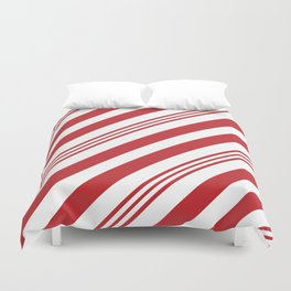 Red Candy Cane Stripes Duvet Cover