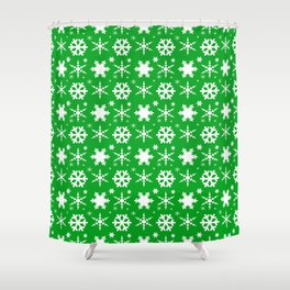 Snowflakes Green Shower Curtain