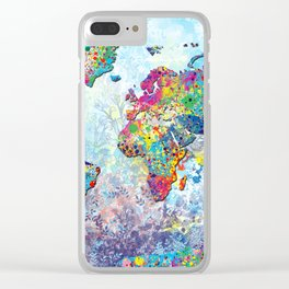 world map colors splats 2 Clear iPhone Case