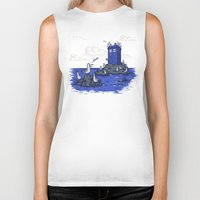 hallion Biker Tanks featuring The Seagulls have the Phonebox by Karen Hallion Illustrations